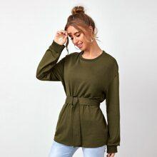 Elastic Waist Belted Solid Sweatshirt