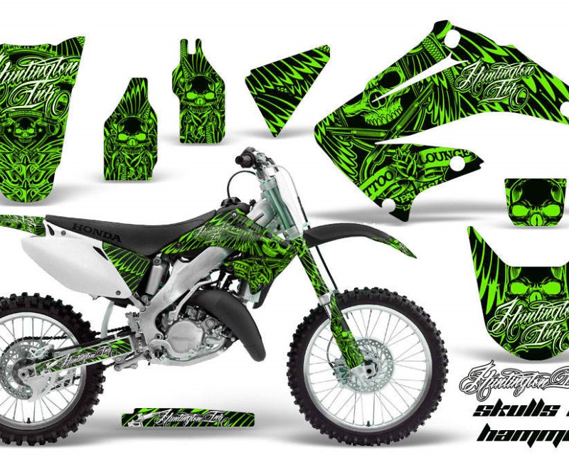 AMR Racing Dirt Bike Graphics Kit Decal Wrap For Honda CR125R | CR250R 2002-2008áHISH GREEN