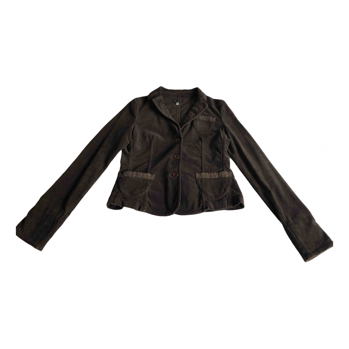 Armani Jeans N Brown Velvet jacket for Women 42 IT