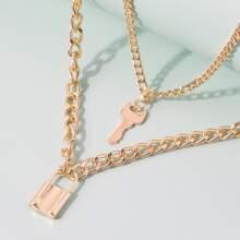 Lock & Key Layered Chain Necklace