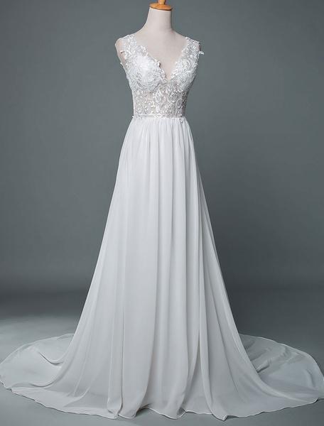 Milanoo Vestido de novia Cuello en V Sin mangas Encaje Una linea Hasta el suelo Gasa Vestidos de novia con tren