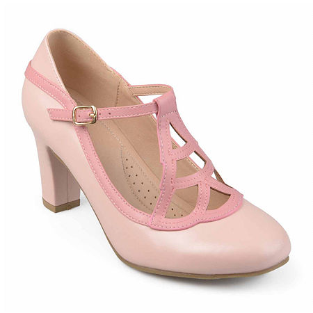 Journee Collection Womens Nile Pumps Block Heel, 10 Medium, Pink