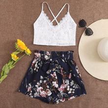 Top mit Band hinten und Guipure Spitze & Shorts mit Guertel und Blumen Muster Set