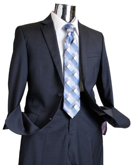 Mens Navy Tone on Tone 1 Wool Suit