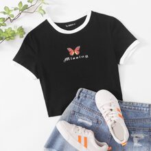 Butterfly & Letter Graphic Ringer Tee