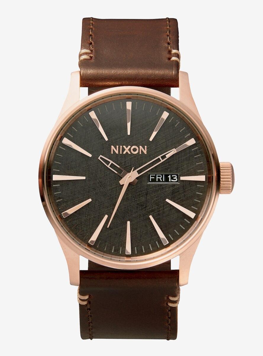 Nixon Sentry Leather Rose Gold Gunmetal Brown Watch