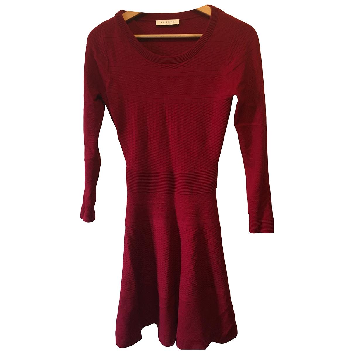 Sandro - Robe   pour femme en coton - elasthane - rouge