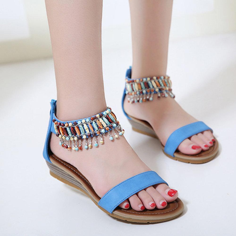 Women Bohemia Casual Beading Pendant Zipper Wedges Heel Sandals