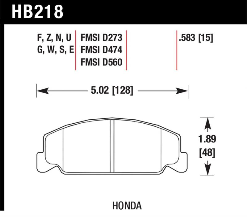 Hawk Performance HB218G.583 Disc Brake Pad Honda Front