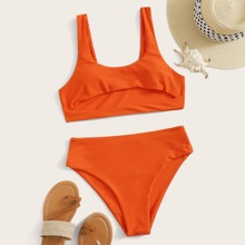 Cut-out Front High Waisted Bikini Swimsuit