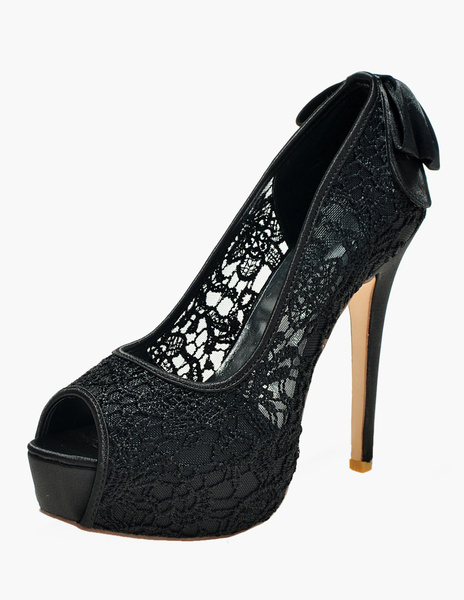 Milanoo Lace Peep Toe Slip-On Embroidered Evening and Bridal Platforms
