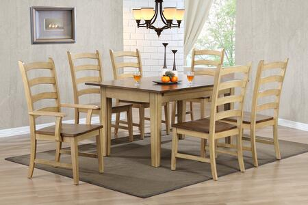 Brook Collection DLU-BR134-PW7PC 7 PC Dining Room Set with Dining Table + 6 Side