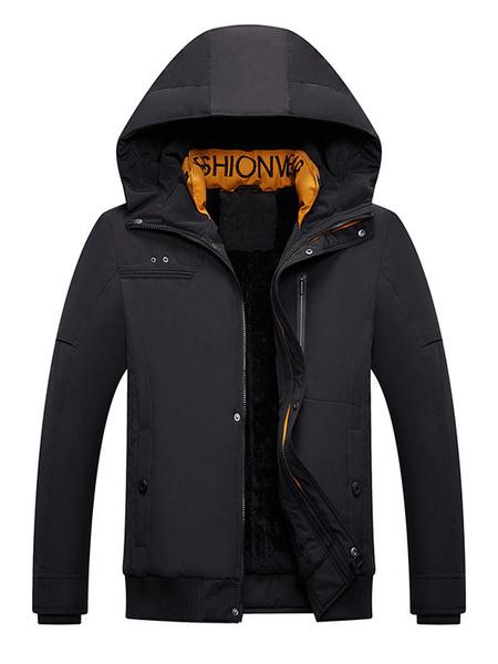 Milanoo Parka para hombre Casual Casual Casual con capucha, abrigo de invierno negro