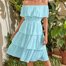 Solid Tiered Layer Bardot Dress
