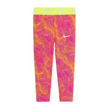 Nike Little Girls Full Length Leggings, 4 , Pink