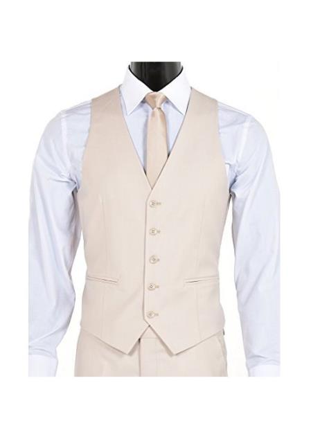 Men's Slim Fit 5 Button Single Breasted Vest Light Tan