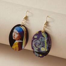 1pair Figure Graphic Oval Drop Earrings