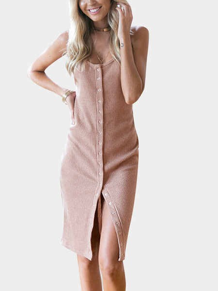 Yoins Pink Sexy Backless & Slit Button Cardigan Dress