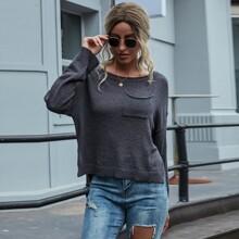 Pullover mit Taschen vorn und Schlitz