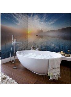 Sunset River Scenery Pattern Decorative Waterproof 3D Bathroom Wall Murals