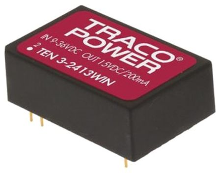 TRACOPOWER TEN 3WIN 3W Isolated DC-DC Converter Through Hole, Voltage in 9 ? 36 V dc, Voltage out 12V dc