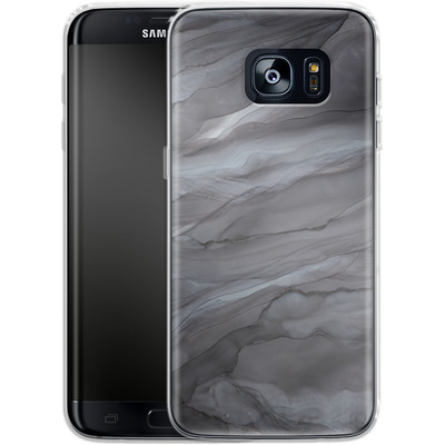 Samsung Galaxy S7 Edge Silikon Handyhuelle - Black Watercolour Marble von Becky Starsmore