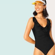 Gerueschter Badeanzug mit tiefem Ruecken