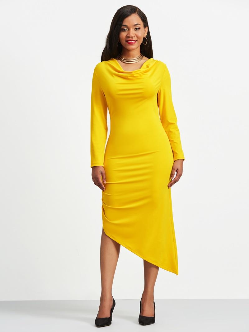 Ericdress V-Neck Pleated Asymmetrical Zipper Sheath Dress