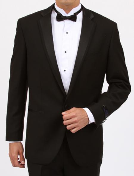 Mens Black Slim Fit 1 Button Tuxedo with Center Vent