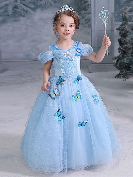 Milanoo Child Elsa Cosplay Costumes Frozen Butterfly Blue Dress Kids Halloween Wears