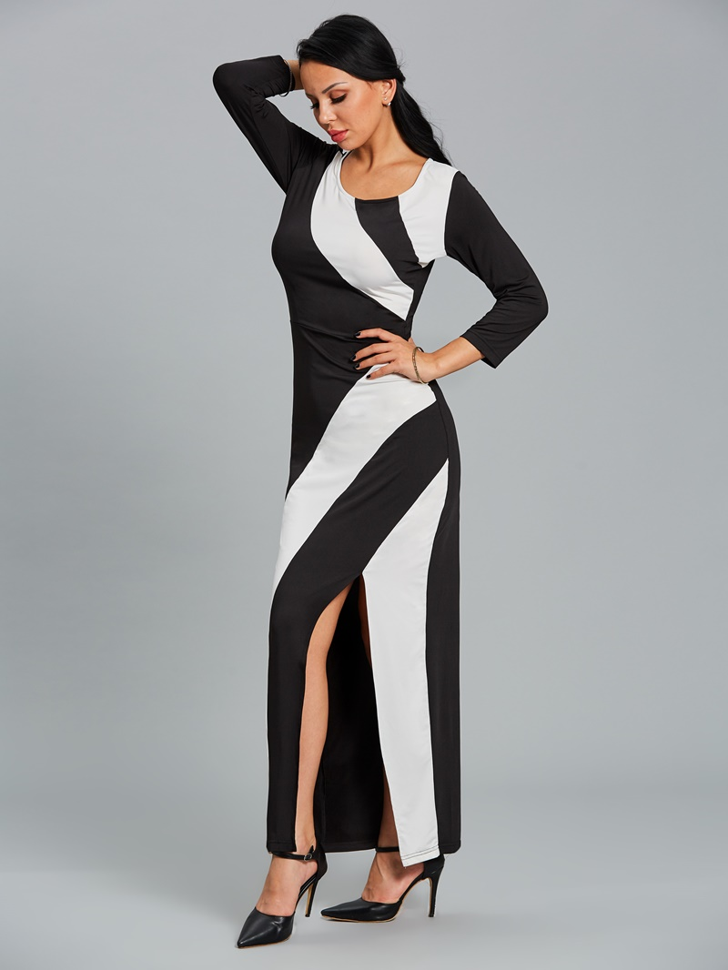 Ericdress Belt Color Block Mermaid Maxi Dress