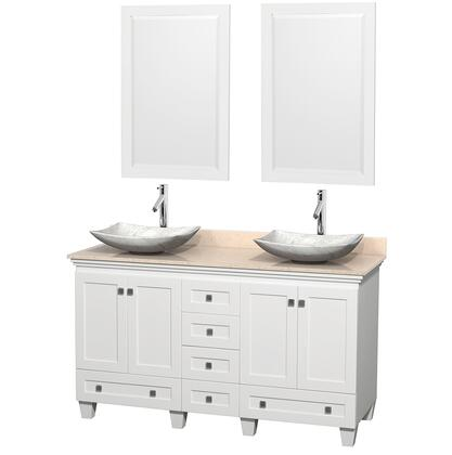 WCV800060DWHIVGS6M24 60 in. Double Bathroom Vanity in White  Ivory Marble Countertop  Arista White Carrera Marble Sinks  and 24 in.