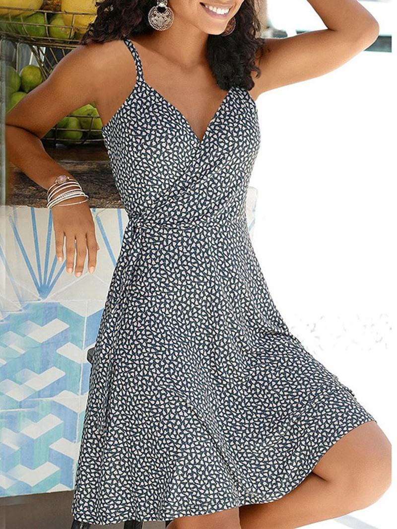Ericdress Above Knee Print V-Neck Spaghetti Strap Expansion Dress