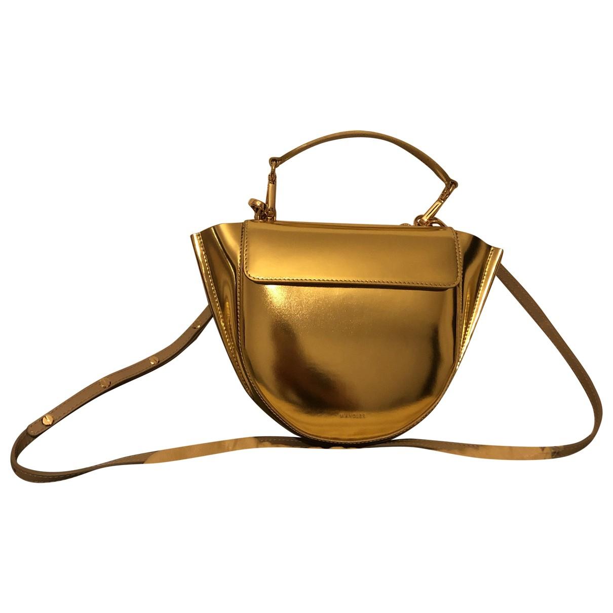 Wandler Hortensia Handtasche in  Gold Leder