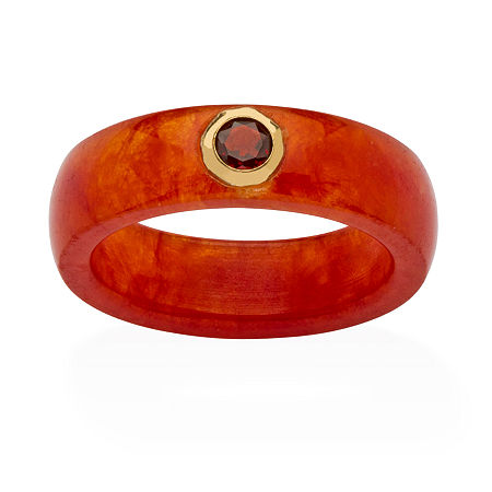 Womens 6MM Red Jade Band and Genuine Red Garnet Set in 10K Gold, 8 , No Color Family