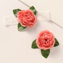 1 Stueck Kleinkind Maedchen Haarband mit Blumen Dekor & 1 Stueck Haarspange
