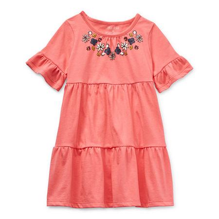 Okie Dokie Toddler Girls Short Sleeve Flutter Sleeve Swing Dress, 5t , Pink