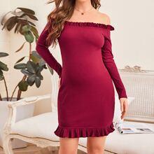 Maternity Schulterfreies Strick Kleid mit Rueschenbesatz