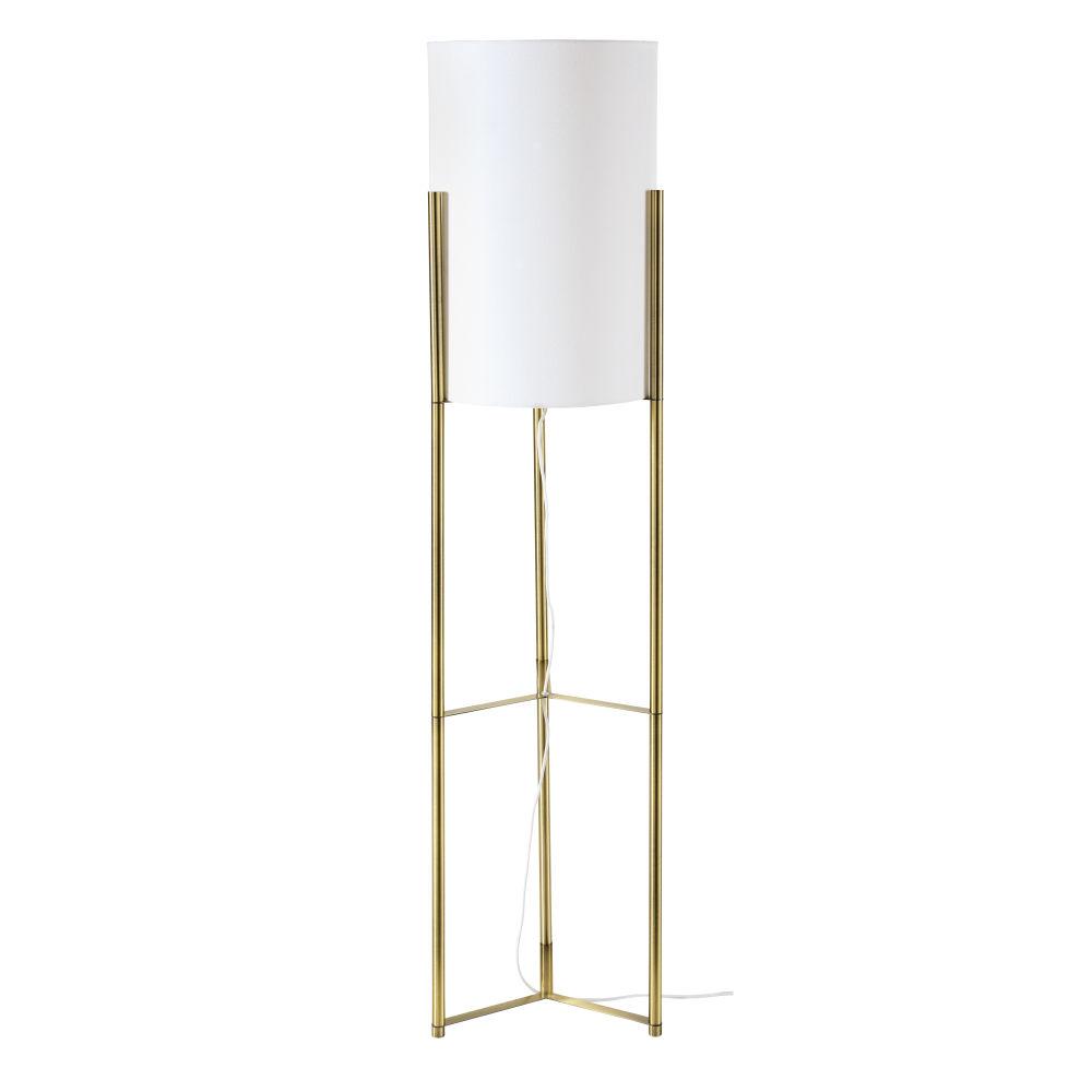 Stehlampe aus goldfarbenem Metall mit trommelformigem Lampenschirm, weiss H140