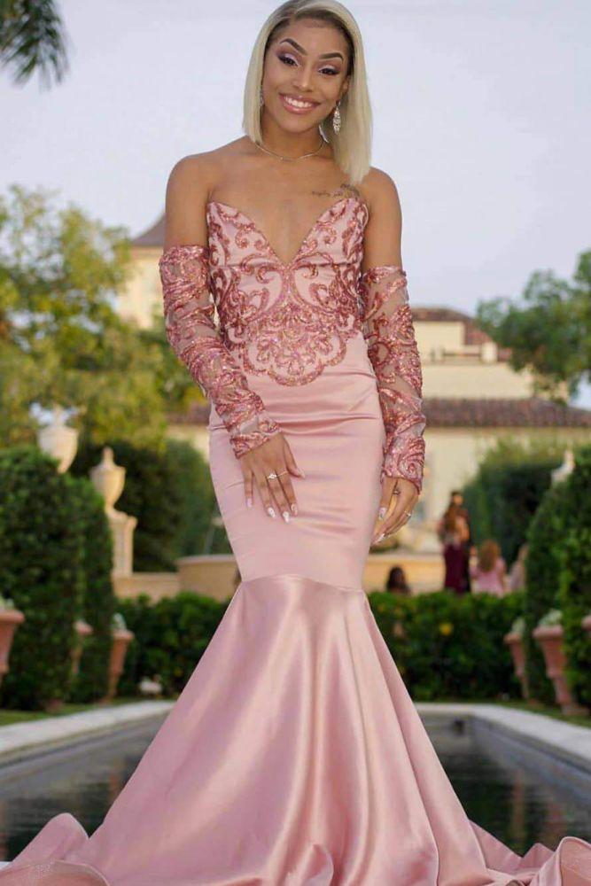Vestidos de baile sexy con cuello en V sin tirantes y abalorios de sirena rosa con mangas