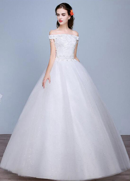 Milanoo Lace Wedding Dress Off The Shoulder Floor Length Lace Up Applique Bridal Dress With Beads Sequins