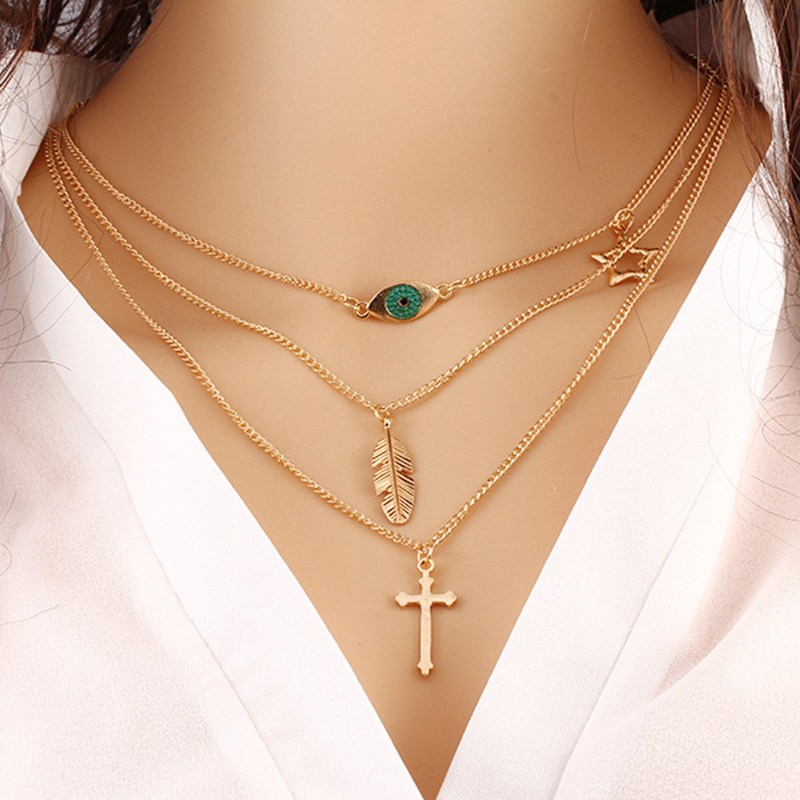 Green Eyes Leaves Cross Golden Women Simple Long Chain Jewelry Necklace