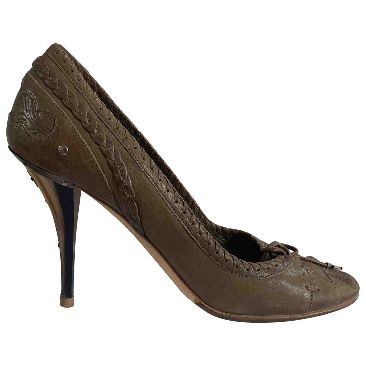 Christian Dior - Escarpins   pour femme en cuir - kaki