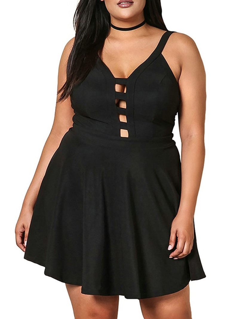 Ericdress Plus Size Hollow Sleeveless Above Knee Mid Waist A-Line Dress