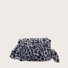 Bolsa bandolera mullida con estampado de leopardo