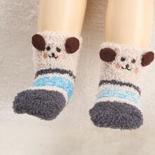 1pair Toddler Kids Cartoon Plush Socks