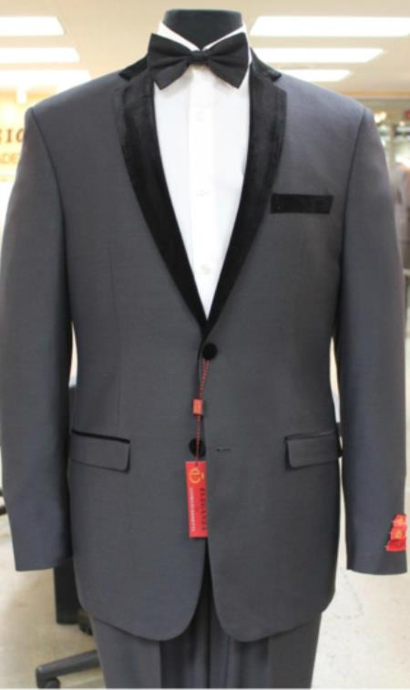 Grey~Gray Tuxedo 2 button notch collar or Formal Suit
