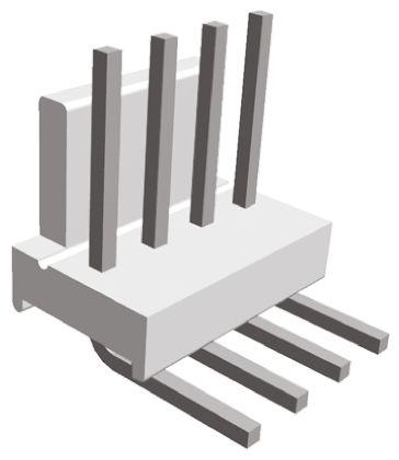 TE Connectivity , MTA-100, 4 Way, 1 Row, Right Angle PCB Header (25)