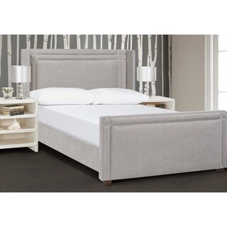 Jennifer Taylor Elle Wingback Upholstered Bed (Silver Grey Yarndye)