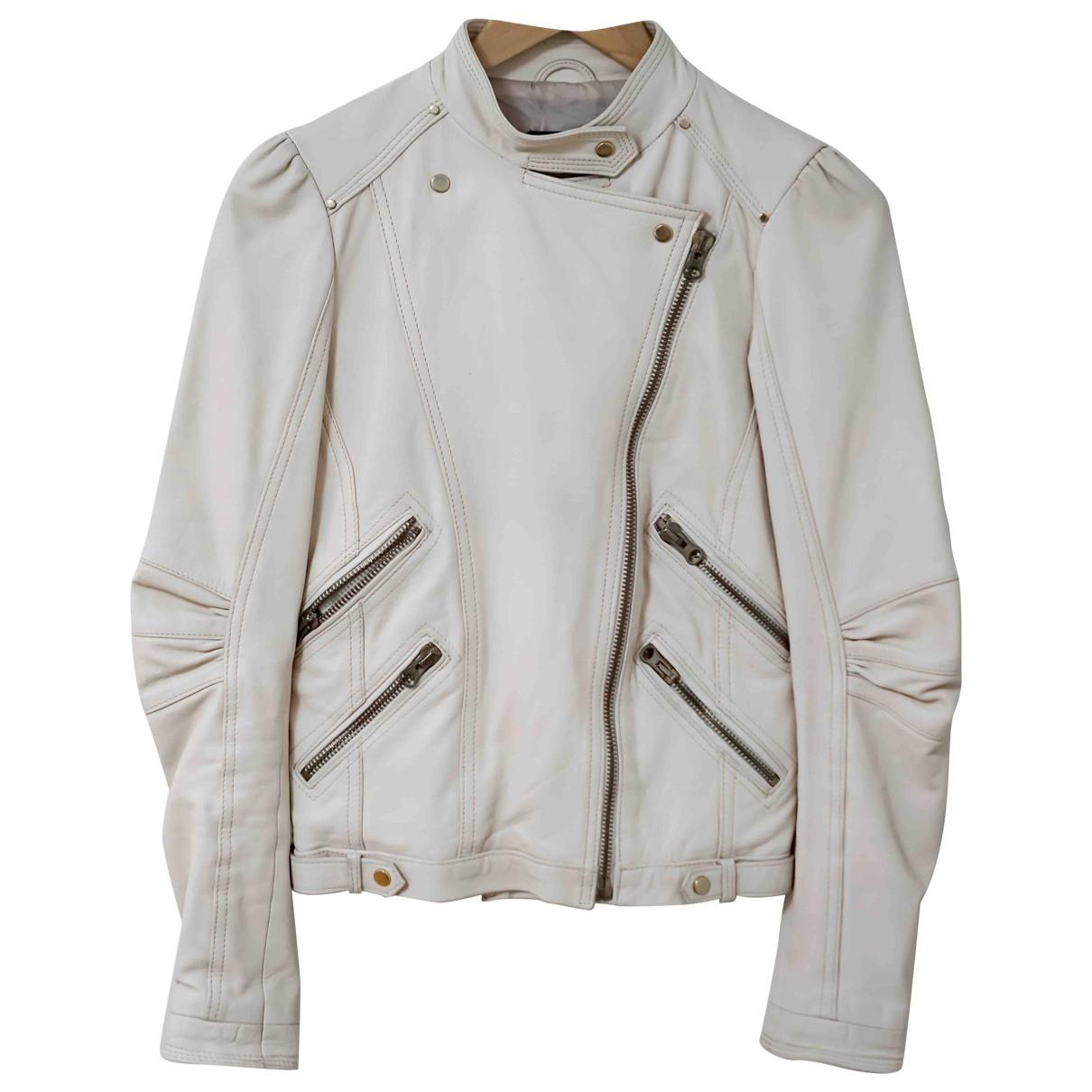 Zara - Blouson   pour femme en cuir - ecru